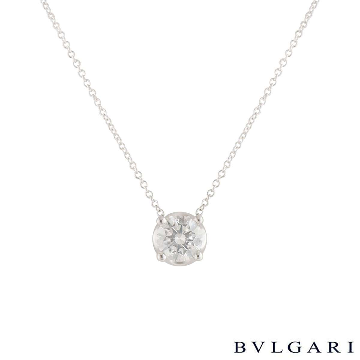 Bvlgari White Gold Diamond Corona Necklace 1.02ct H/IF